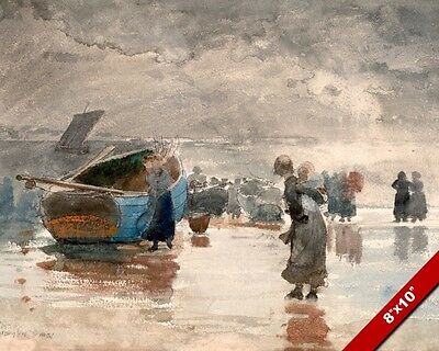 On The Sands Winslow Homer Watercolor Painting Art Real Canvas GicleePrint