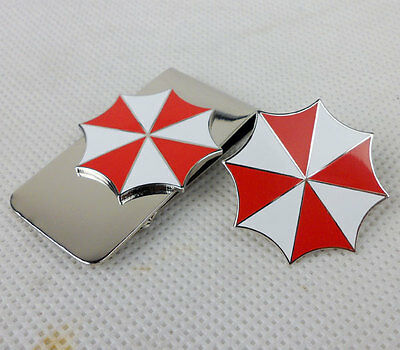 Resident Evil Umbrella Corporation Embroidered logo metal badge pin & Money clip