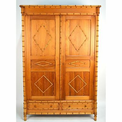 Antique French Belle Epoque Carved Faux Bamboo Armoire Wardrobe, ca. 1890