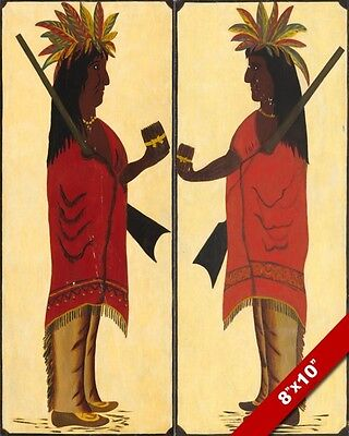 Native American Indian Cigar Tobacco Sign Painting Art Real Canvas Giclee Print