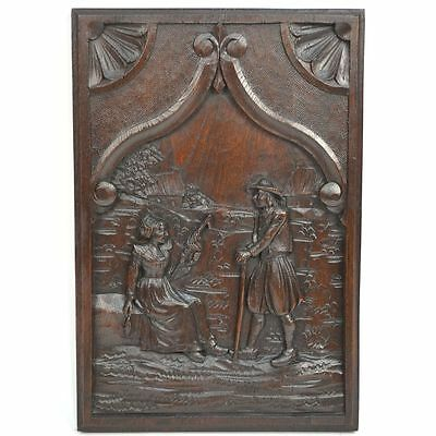 Antique French Carved Chestnut Architectural Salvaged Brittany Panel