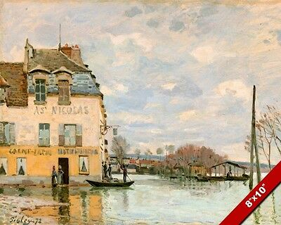 Le Port Marly France Painting By Alfred Sisley Art Real Canvas Giclee Print