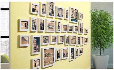 34-PC mixed lot solid Pine wood white picture photo frames set 193-Wpho-34B