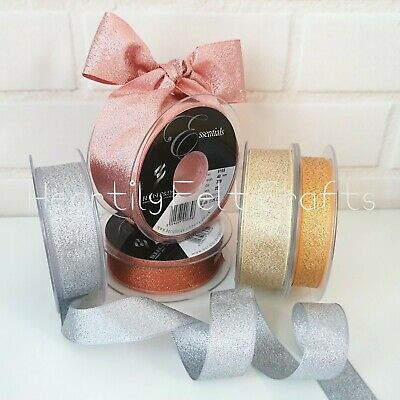 3,7,15,25,40mm Berisfords Sparkly Lame Ribbon Rose Gold Silver Copper Glitter