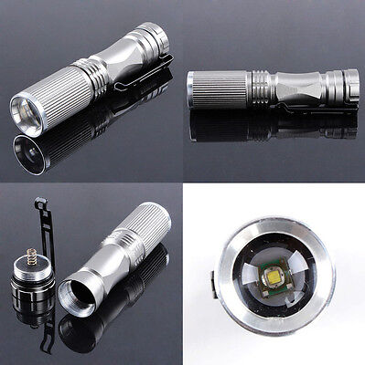 CREE Q5 LED 7W 600LM Zoom 14500 Mini Portable Flashlight Torch Lamp Silver Body