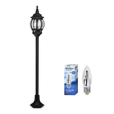 Traditional Black Exterior LED Outdoor Garden Light Lamp Post Lantern Lamppost