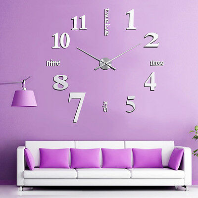 New DIY Large Wall Clock 3D Mirror Sticker Big Watch Home Decor Unique Gift