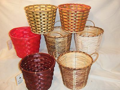 Lot of 7 Round Basket Pot Cover Cane Fruit Flower Gift Assorted Colors Bamboo
