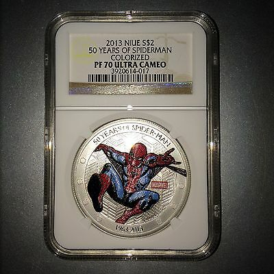 2013 Niue Silver $2 - 50 Years of Spider-Man - PF70 UC NGC Coin - VERY RARE !!!