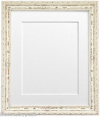 Shabby Chic Distressed White Picture Photo Frames with Mounts and Backing Boards