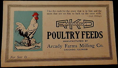 Advertising Blotter RKD POULTRY FEEDS - ARCADY FARMS MILLING - CHICAGO - 1919