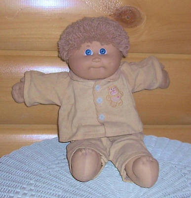 CABBAGE PATCH COLECO DOLL ORPHAN  BEIGE CURLS 1984 CPK CORD TEDDY BEAR OUTFIT