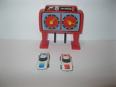 VTG AFX Lazer 2000 2 SLOT CARS Red and Blue Plus Lap Counter