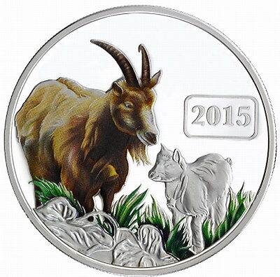 Tokelau 2015 Year of Goat 5 Dollars 1oz Colour Silver Coin,Proof
