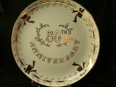"Beautiful Vintage Lefton China 10"" Handpainted 50th Anniversary Plate No. 3696"
