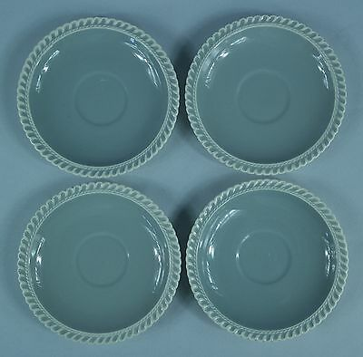 VTG - 4 Harker Ware Pottery Saucer Plates Pate-Sur-Pate in Chesterton Gray