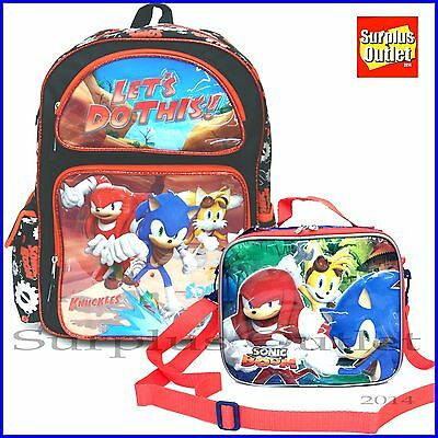"""Sonic The Hedgehog  16"""" Boy School  Backpack and Lunch Bag 2pc set"""