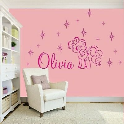 GIRLS NAME Bedroom Wall Art Decal/Sticker My Little Pony Pink Stars Personalised