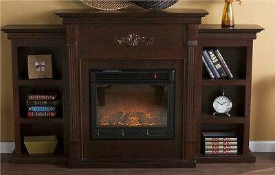 black cabinet traditional real pine fireplace room heater tv stand 12337