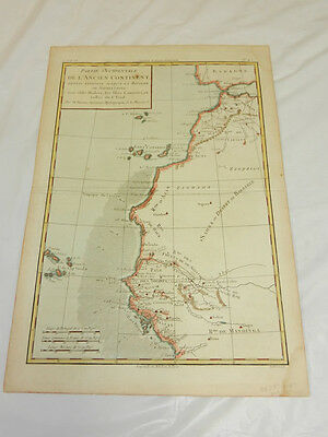 1774 Antique COLOR Map//COAST OF AFRICA FROM LISBON, PORTUGAL TO SIERRA LEONE