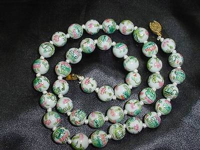 Antique Chinese Export Hand Painted Pink / Green Porcelain Bead Necklace  #1173