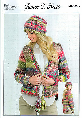 Ladies Cardigan and Hat JB245 Knitting Pattern in James Brett Marble Chunky