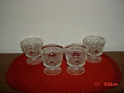 """4 PRESSED GLASS """"BIG TOP"""" 3 3/4"""" PEDESTAL PUDDING CUPS/1950's/BEAUTIFUL/VINTAGE"""