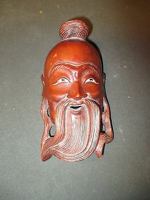 CHINESE ELDER BUDDHA FACE MASK WALL PLAQUE