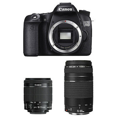 Canon EOS 70D Digital SLR Camera Body + 18-55mm IS STM + 75-300mm Lens