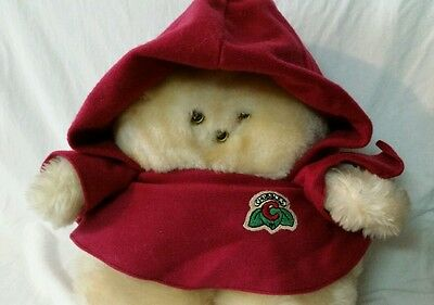 """9"""" Chubbles Plush Burgandy Hooded Robe Vintage Light Up Toy Motion Activate Vtg"""