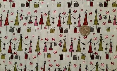 Day before Christmas White 100% Cotton Craft Sew Quilting FQ 1/2m Meter