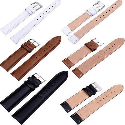 NEW Quality Unisex Genuine Leather Black Brown White Watch Strap Band Women Mens