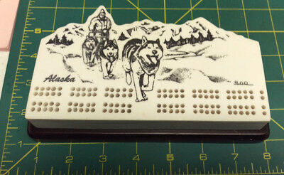 Alaska Cribbage Board - Dog Musher engraved very nice