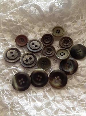 Mixed Vintage Buttons Flat Back x 15 Brown,Green,Cream