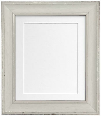 Skandi Vintage Distressed Pale Grey Photo Picture frame & choice of mount colour