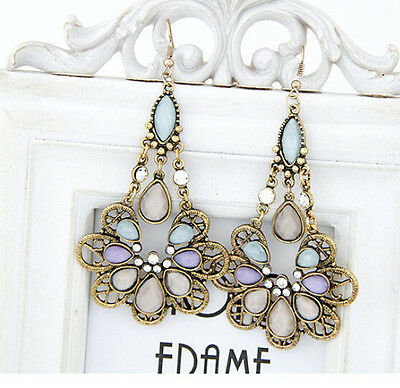 Vintage Retro Bohemia Hollow Out Magnificent Resin Crystal Dangle Hook Earrings