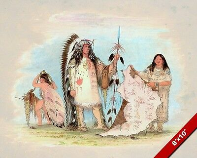 Native American Indian Chief & His Favorite Wife Painting Art Real Canvas Print