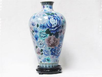 Beautiful Vintage Chinese Cloisonne 100 Flower Blue Vase, Excellent Condition