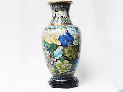 Beautiful Chinese Cloisonne Blue Vase W/ Floral Decorative, Excellent Condition