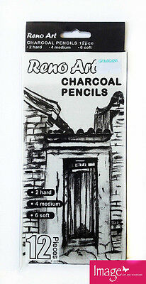 Pack of 12 Art Charcoal Drawing Sketching Pencils | 6x Soft, 4x Med & 2x Hard