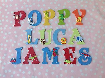 Personalised Children Kids Name Wooden Wall Door Letter Animals Pirates Theme