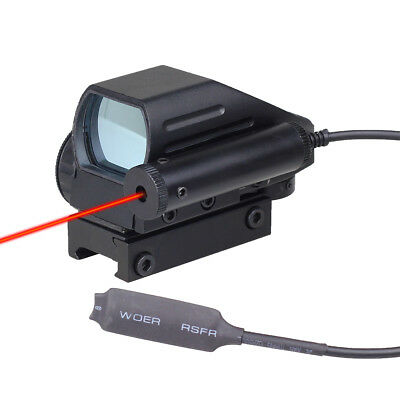 Tactical Holographic Red Green Dot Reflex Scope 4 Reticles w/ Red Laser Sight