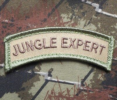 JUNGLE EXPERT ARMY TAB ROCKER TACTICAL MORALE USA MILITARY MULTICAM VELCRO PATCH