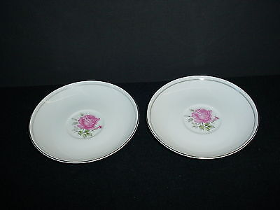 Lot of 2 Imperial Rose Coffee Cup Saucers Fine China Japan 6702 Vintage