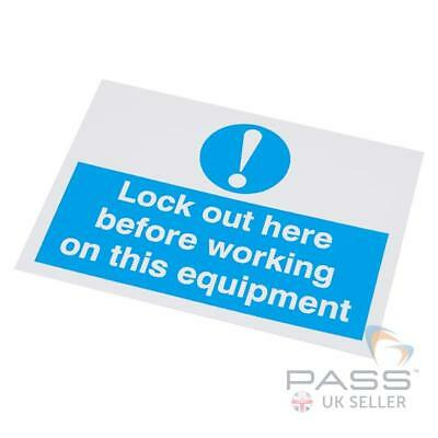 Lockout Self Adhesive Labels - 'Lockout Here...' - 55 x 75mm, pack of 10