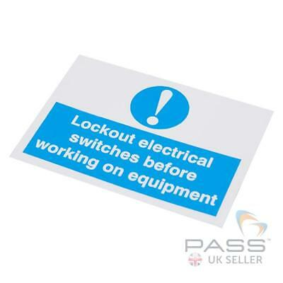 Lockout Electrical Switches before Working Self Adhesive Label 55x75mm