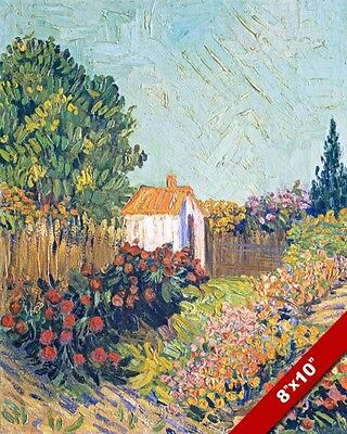 Garden Scene Inspired By Vincent Van Gogh Painting Art Real Canvas Giclee Print