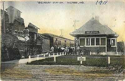 Engineer, Fireman, Conductor & Crowd Posing, Big Four Station, Milford IN 1911