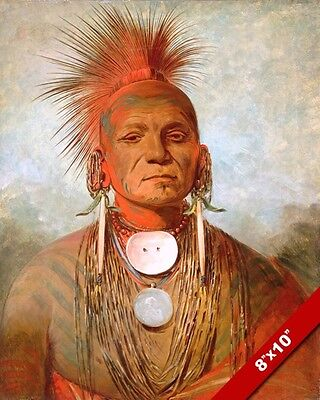 Iowa Indian Tribe Medicine Man Native American Painting Art Real Canvas Print