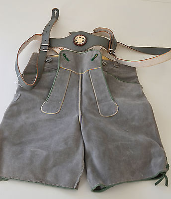 Pair Of Beautiful Vintage Boy'S/men'S Leiderhosen- Grey Suede- Size 28 Jj8